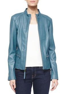 Neiman Marcus Washed Lambskin Leather Jacket