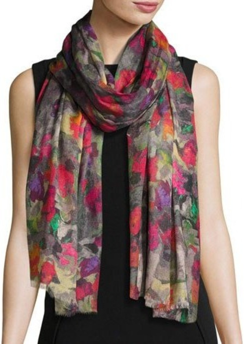 Neiman Marcus Watercolor Floral-Print Scarf