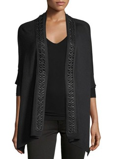 Neiman Marcus Whipstitch-Trimmed Cape Cardigan