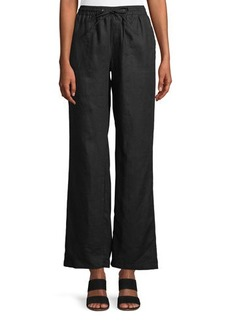 Neiman Marcus Wide-Leg Linen Pants