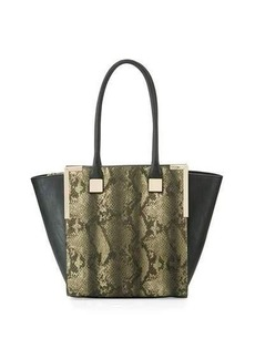 Neiman Marcus Wing-Side Faux-Leather Tote Bag