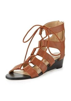 Neiman Marcus Wista Leather Lace-Up Sandal