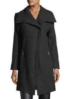 Neiman Marcus Wool Asymmetric-Zip Jacket