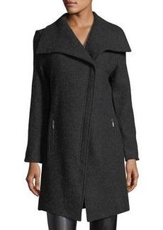 Neiman Marcus Wool Asymmetric-Zip Jacket