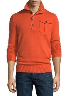 Neiman Marcus Wool-Cashmere Blend Mock-Neck Sweater