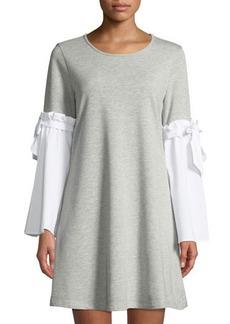 Neiman Marcus Woven Bell-Sleeve Sweatshirt Dress