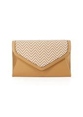 Neiman Marcus Woven Envelope Chain Clutch Bag
