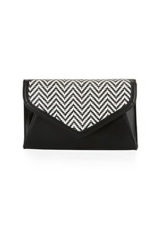 Neiman Marcus Woven Envelope Chain Clutch Bag