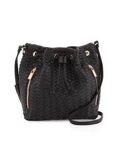 Neiman Marcus Woven Faux-Leather Bucket Bag