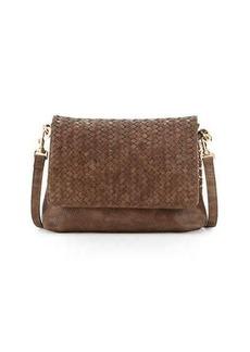 Neiman Marcus Woven Faux-Leather Reptile Shoulder Bag