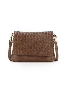 Neiman Marcus Woven Faux-Leather Reptile Shoulder Bag