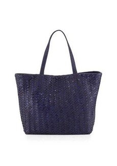 Neiman Marcus Woven Faux-Leather Reptile Tote Bag