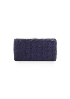 Neiman Marcus Woven Reptile Faux-Leather Clutch Bag