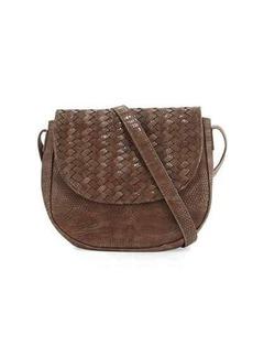 Neiman Marcus Woven Reptile Faux-Leather Saddle Bag