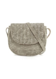 Neiman Marcus Woven Reptile Faux-Leather Saddle Bag