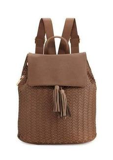 Neiman Marcus Woven Saffiano Tassel Backpack