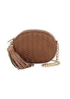 Neiman Marcus Woven Saffiano Tassel Crossbody Bag