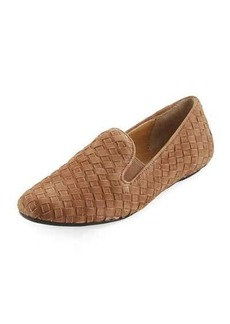 Neiman Marcus Woven Suede Slip-On Loafer