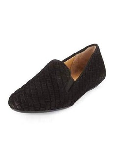 Neiman Marcus Woven Suede Stretch Loafer