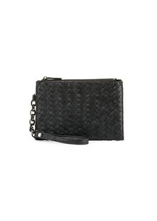 Neiman Marcus Woven Zip-Top Faux-Leather Wristlet