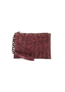 Neiman Marcus Woven Zip-Top Faux-Leather Wristlet