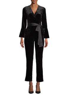 Neiman Marcus Wrap-Front Velvet Jumpsuit