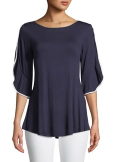 Neiman Marcus Wrapped-Flutter Sleeve Tunic