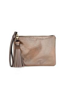 Neiman Marcus Wristlet/Tassel Snake-Embossed Bag with Gift Box