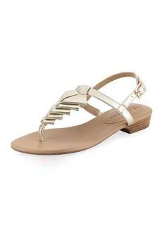 Neiman Marcus Yerik Metallic Folded Leather Sandal