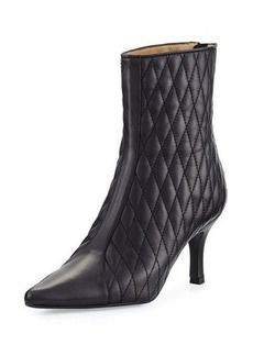 Neiman Marcus Zinky Leather Quilted Bootie