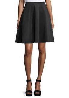 Neiman Marcus Zip-Back Flared Midi Skirt