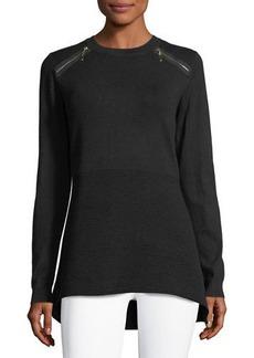 Neiman Marcus Zip-Detail Pullover Sweater