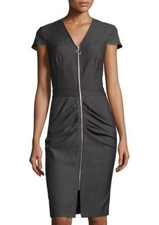 Neiman Marcus Zip-Front Ruched Sheath Dress