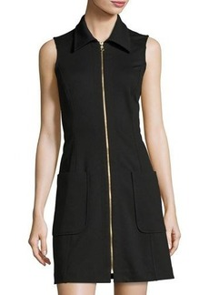 Neiman Marcus Zip-Front Sleeveless Shirtdress