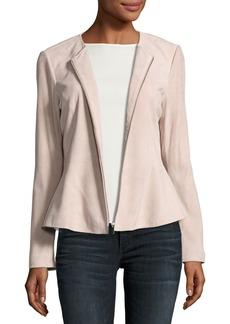 Neiman Marcus Zip-Front Suede Peplum Jacket