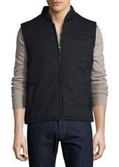 Neiman Marcus Zip-Front Woven Puffer Vest