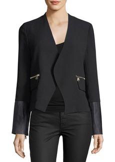 Neiman Marcus Zip-Pocket Crepe Blazer