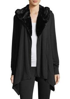 Neiman Marcus Zip-Up Jacket with Faux-Fur Collar
