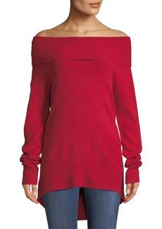 Neiman Marcus Off-Shoulder Long-Sleeve Sweater