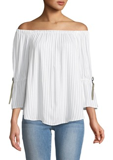 Neiman Marcus Off-The-Shoulder Bell-Sleeve Top