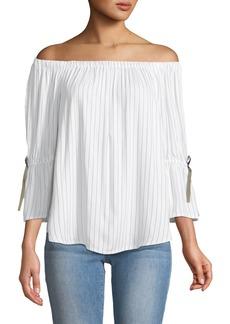 Neiman Marcus Off-The-Shoulder Bell-Sleeve Top
