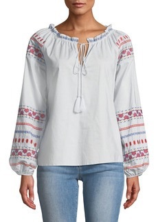 Neiman Marcus Off-the-Shoulder Blouse w/ Embroidery