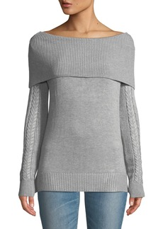 Neiman Marcus Off-the-Shoulder Cable-Knit Sweater