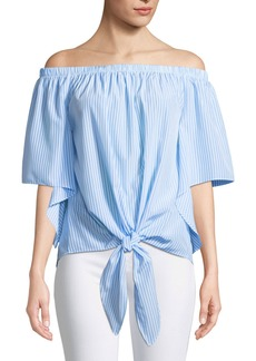 Neiman Marcus Off-The-Shoulder Cape-Sleeve Tie-Front Blouse