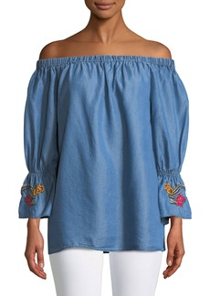 Neiman Marcus Off-The-Shoulder Embroidered-Cuff Chambray Blouse
