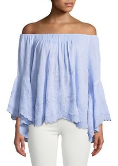 Neiman Marcus Off-The-Shoulder Embroidered Peasant Blouse