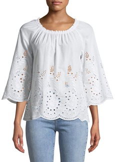 Neiman Marcus Off-The-Shoulder Eyelet Embroidered Blouse