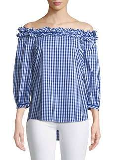 Neiman Marcus Off-The-Shoulder Gingham Blouse
