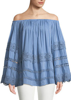 Neiman Marcus Off-The-Shoulder Peasant Blouse