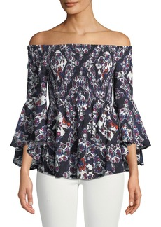 Neiman Marcus Off-the-Shoulder Smocked Patchwork Blouse